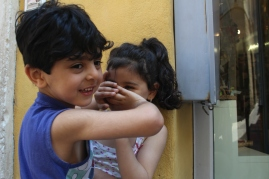 Italian bambinos bickering. - Urbino, Italy